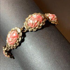 """Vintage Ladies Gold & Pink Stone Bracelet 7 1/2"""""""